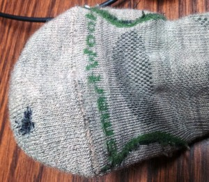 Outside of the Smartwool sock after repair